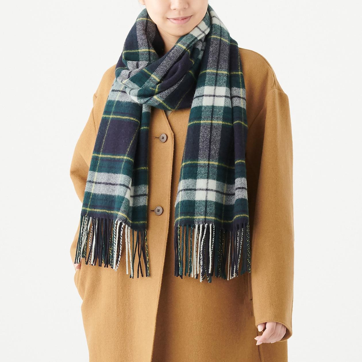 ウール織り大判ストール(柄)