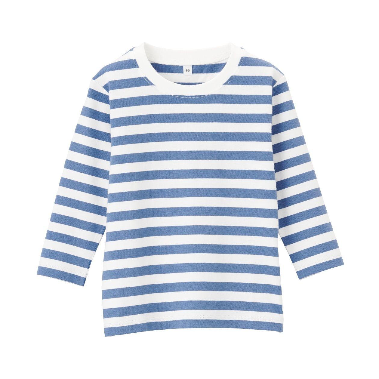 インド綿天竺編み ボーダー長袖Tシャツ(ベビー)