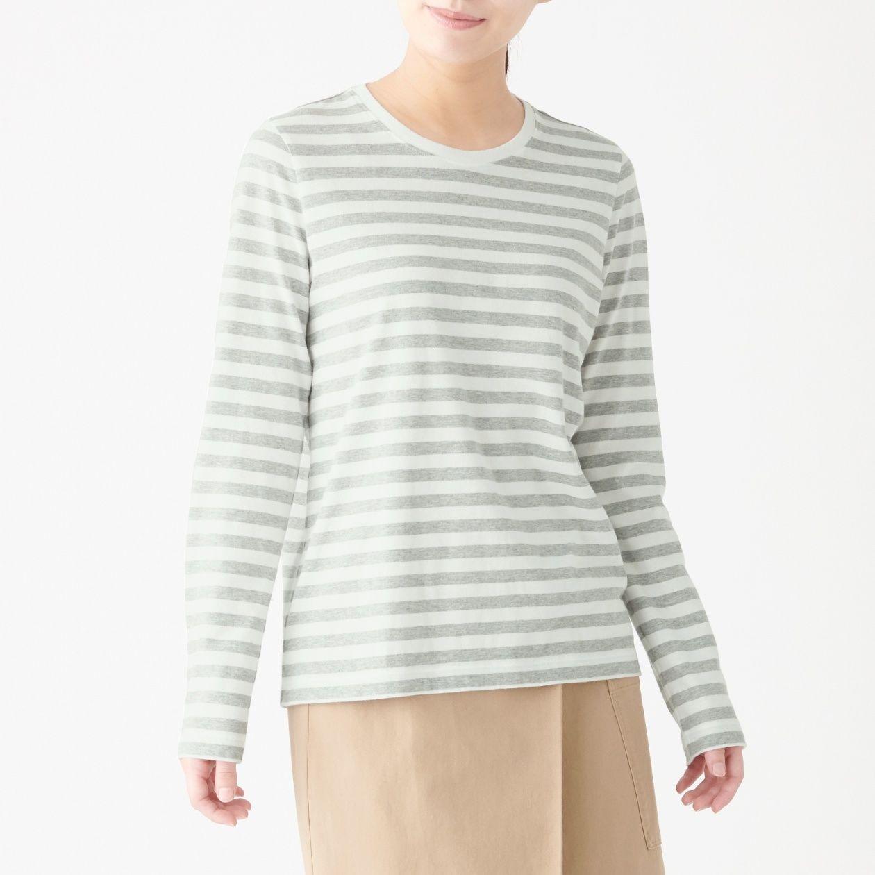 インド綿天竺編みクルーネック長袖Tシャツ(ボーダー)