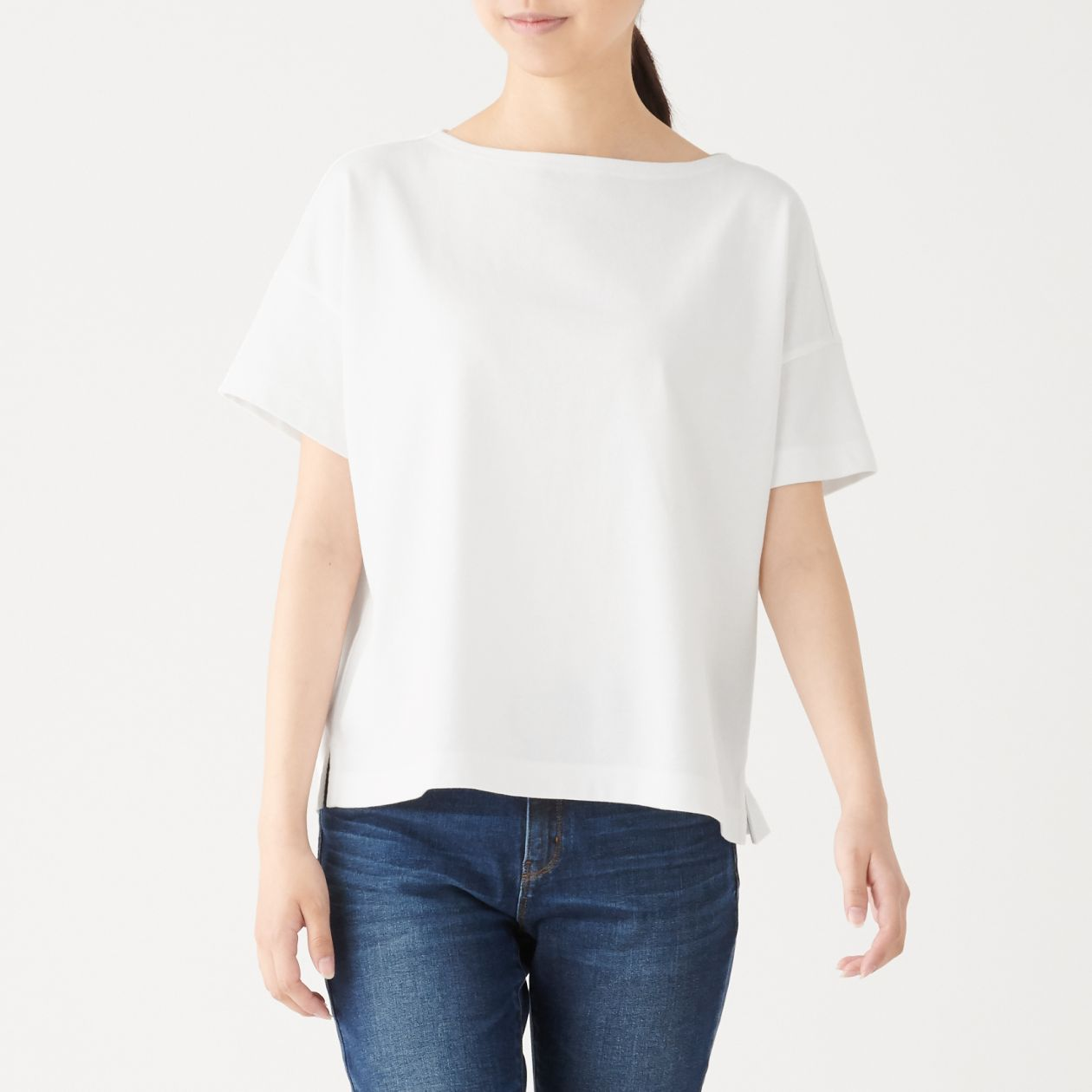 LOW COUNT JERSEY STITCH BOAT NECK WIDE T-SHIRT (S/S)