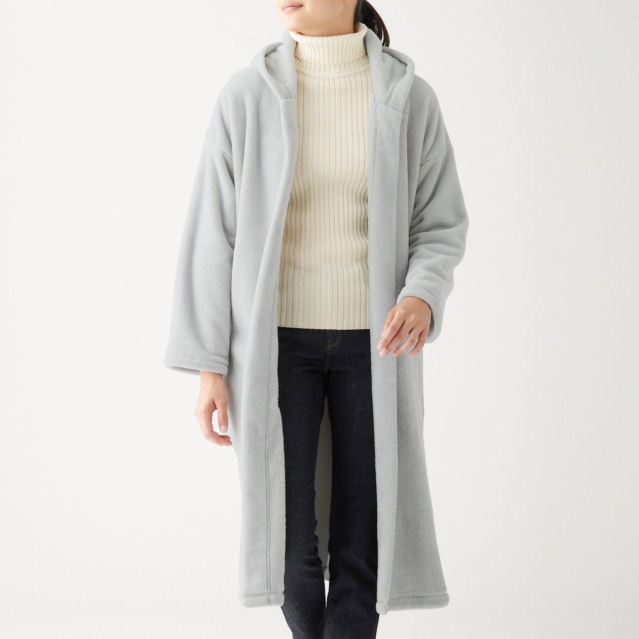 あたたかファイバー着る毛布フード付ガウンコート