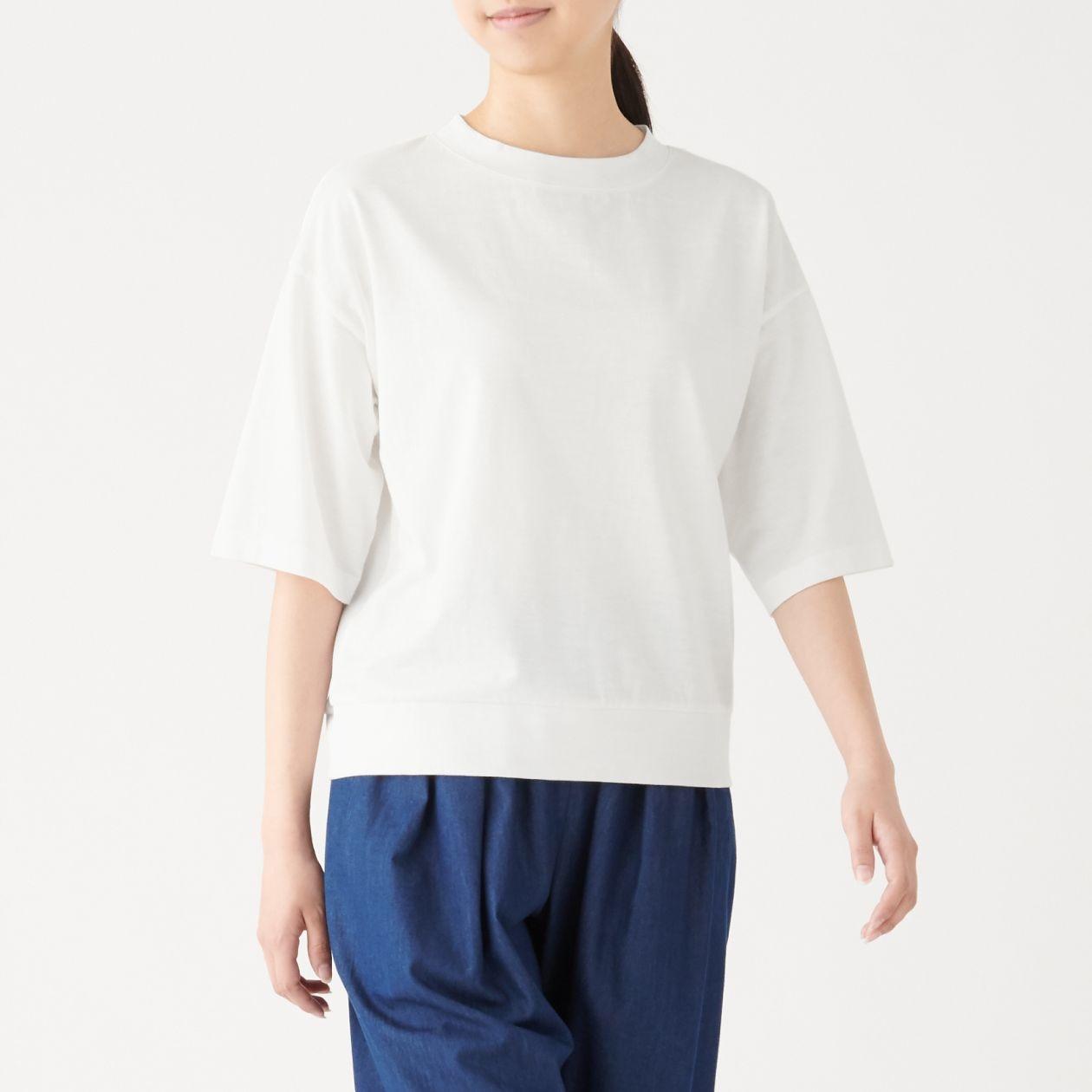 ムラ糸天竺編み五分袖Tシャツ