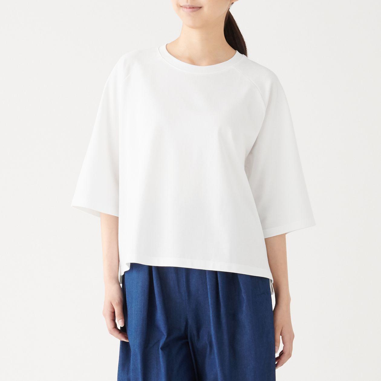 新疆綿鹿の子編み七分袖Tシャツ