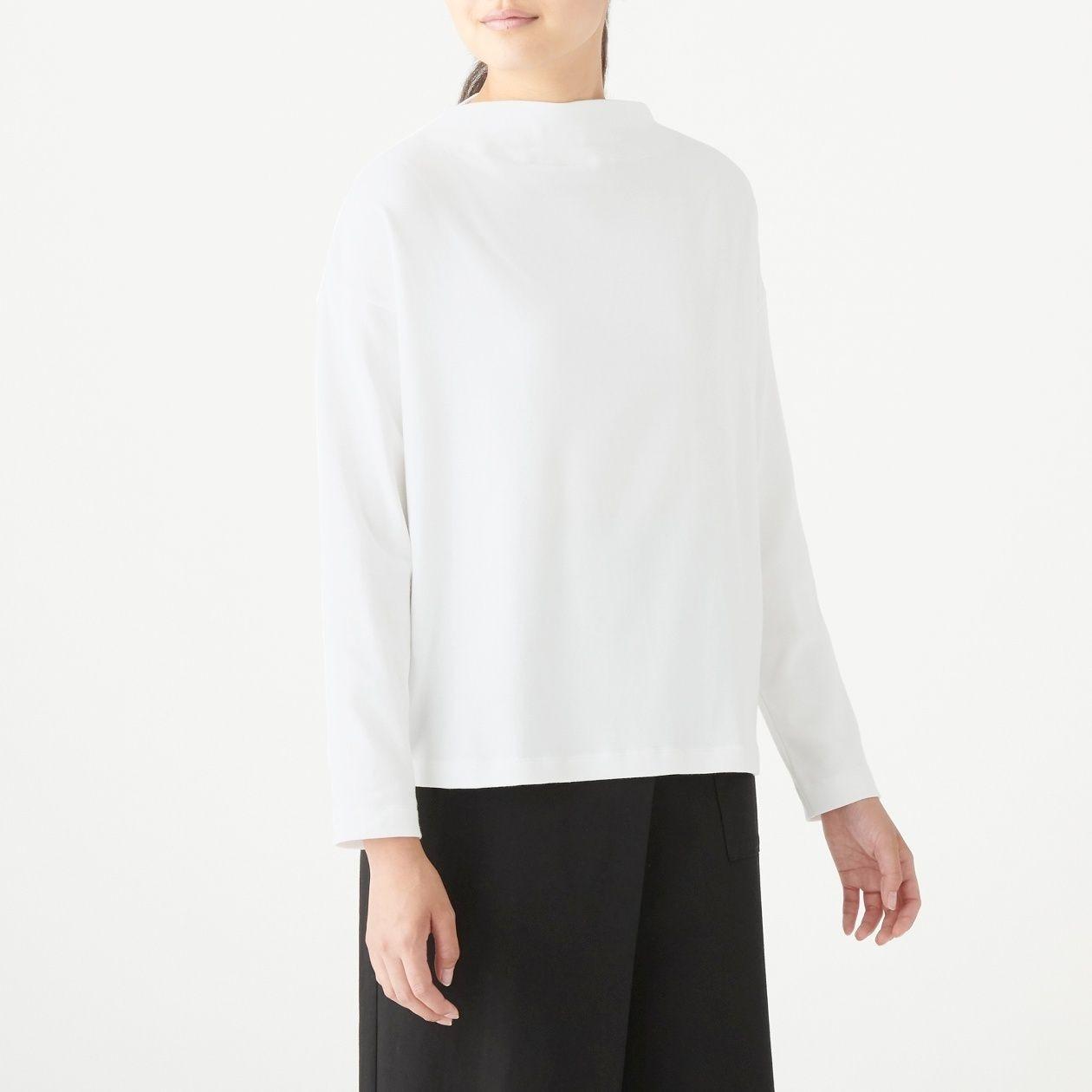 ストレッチフライス編みモックネックTシャツ