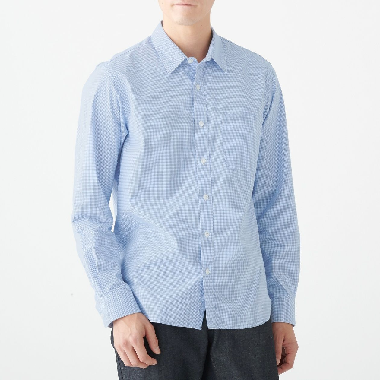 新疆綿洗いざらしブロードギンガムシャツ