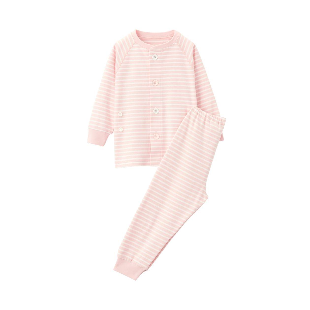 脇に縫い目のない スムース編みお着替えパジャマ(ベビー)
