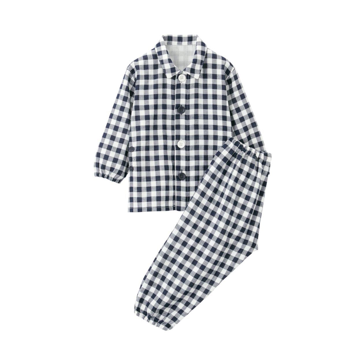 脇に縫い目のない 二重ガーゼお着替えパジャマ(ベビー)