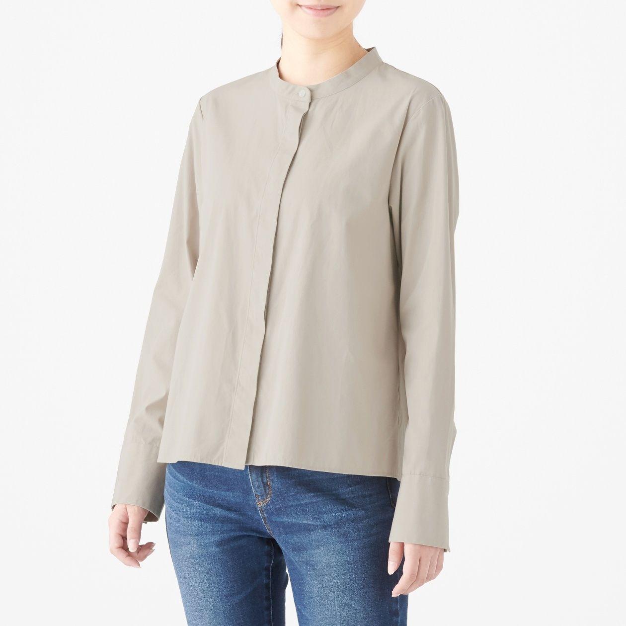 新疆綿洗いざらしブロードスタンドカラーシャツ