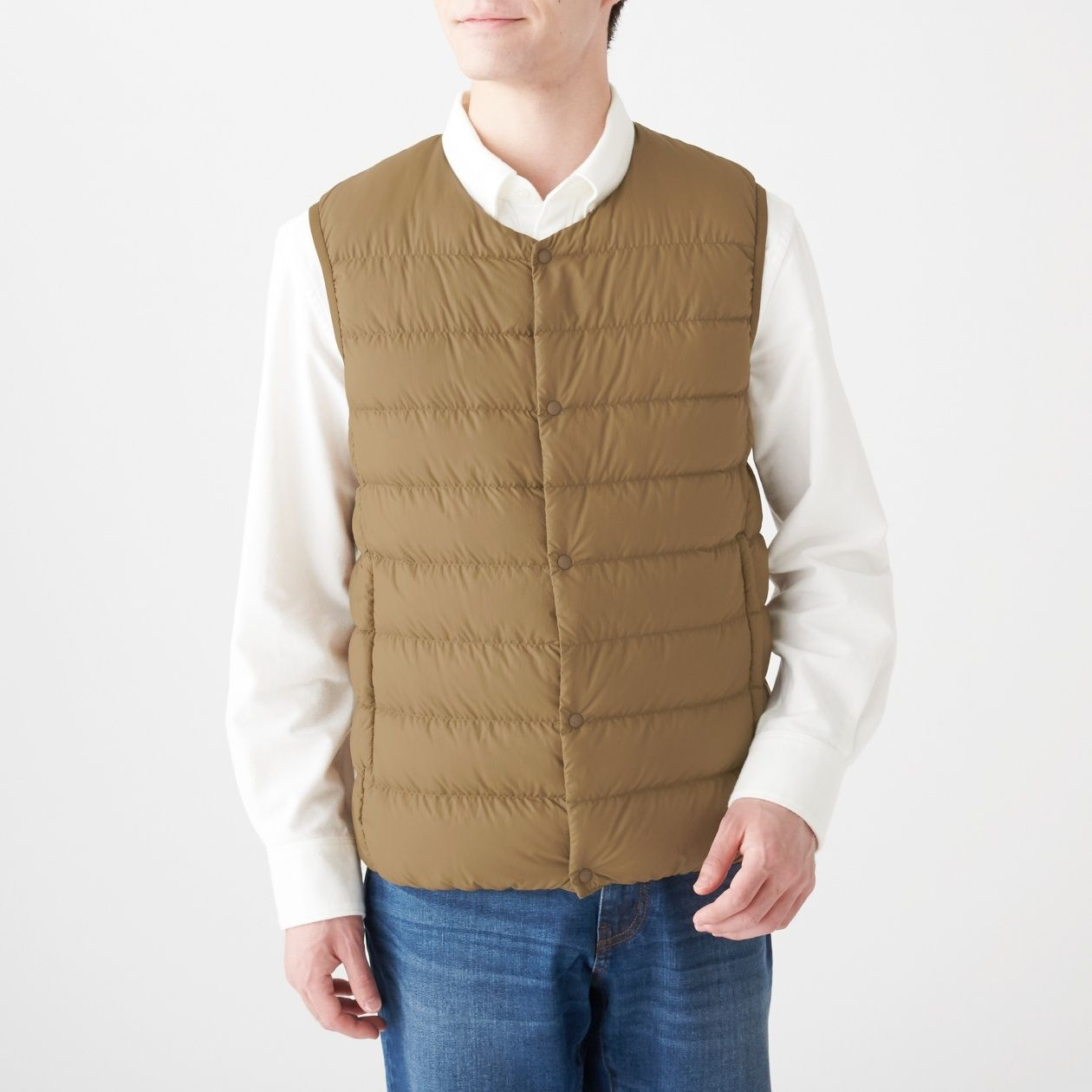 Men's Light Australian Down Pocketable Collarless Vest