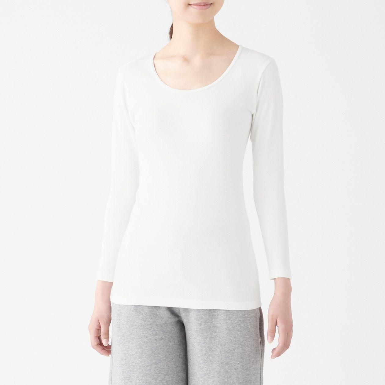 綿とウールで真冬もあったかUネック八分袖Tシャツ