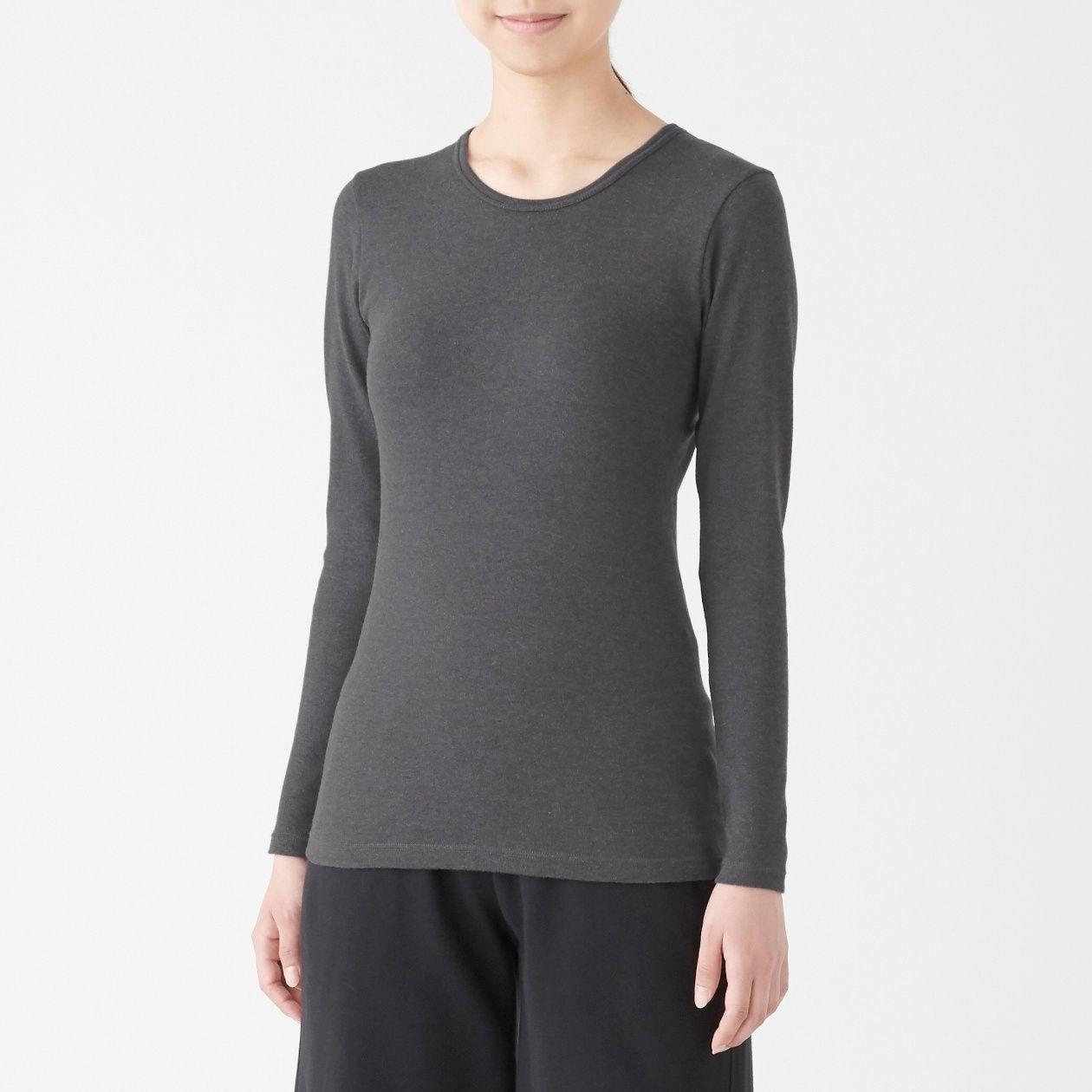 綿とウールで真冬もあったかクルーネック長袖Tシャツ