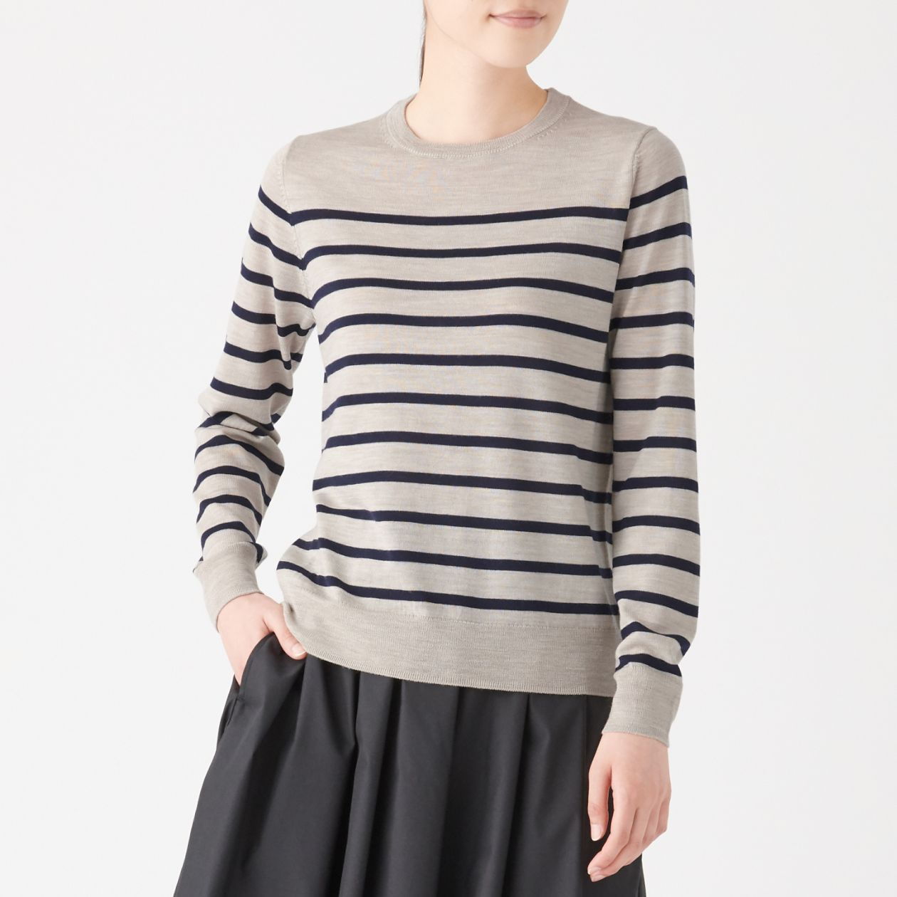 ウールシルク洗えるクルーネックセーター
