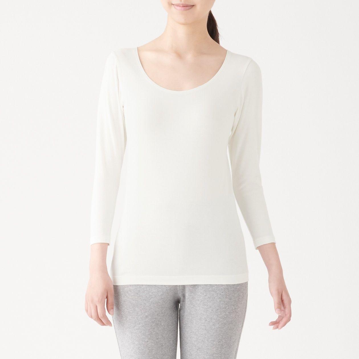 綿であったかUネック八分袖Tシャツ