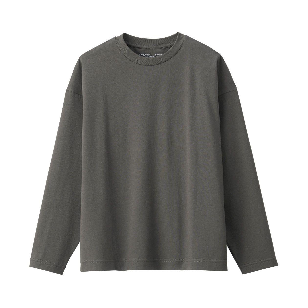 天竺編み クルーネックドロップショルダーTシャツ
