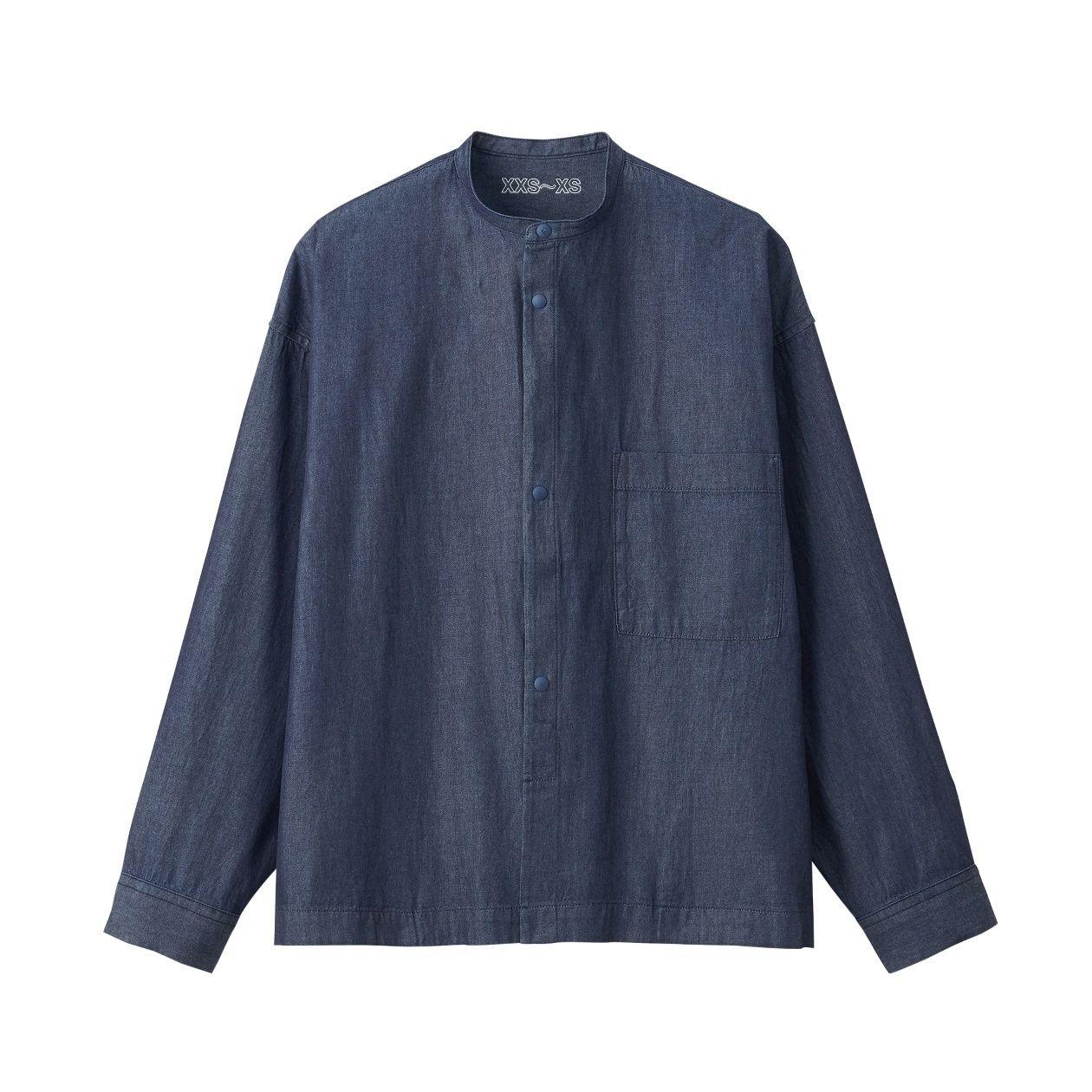 インディゴドロップショルダースタンドカラーシャツ