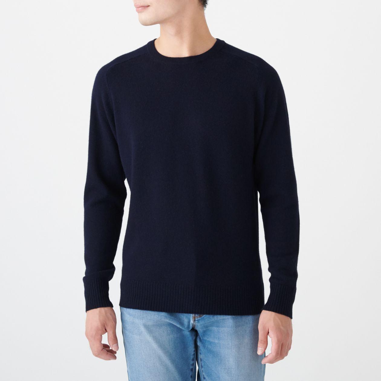 ヤク混ウールクルーネックセーター