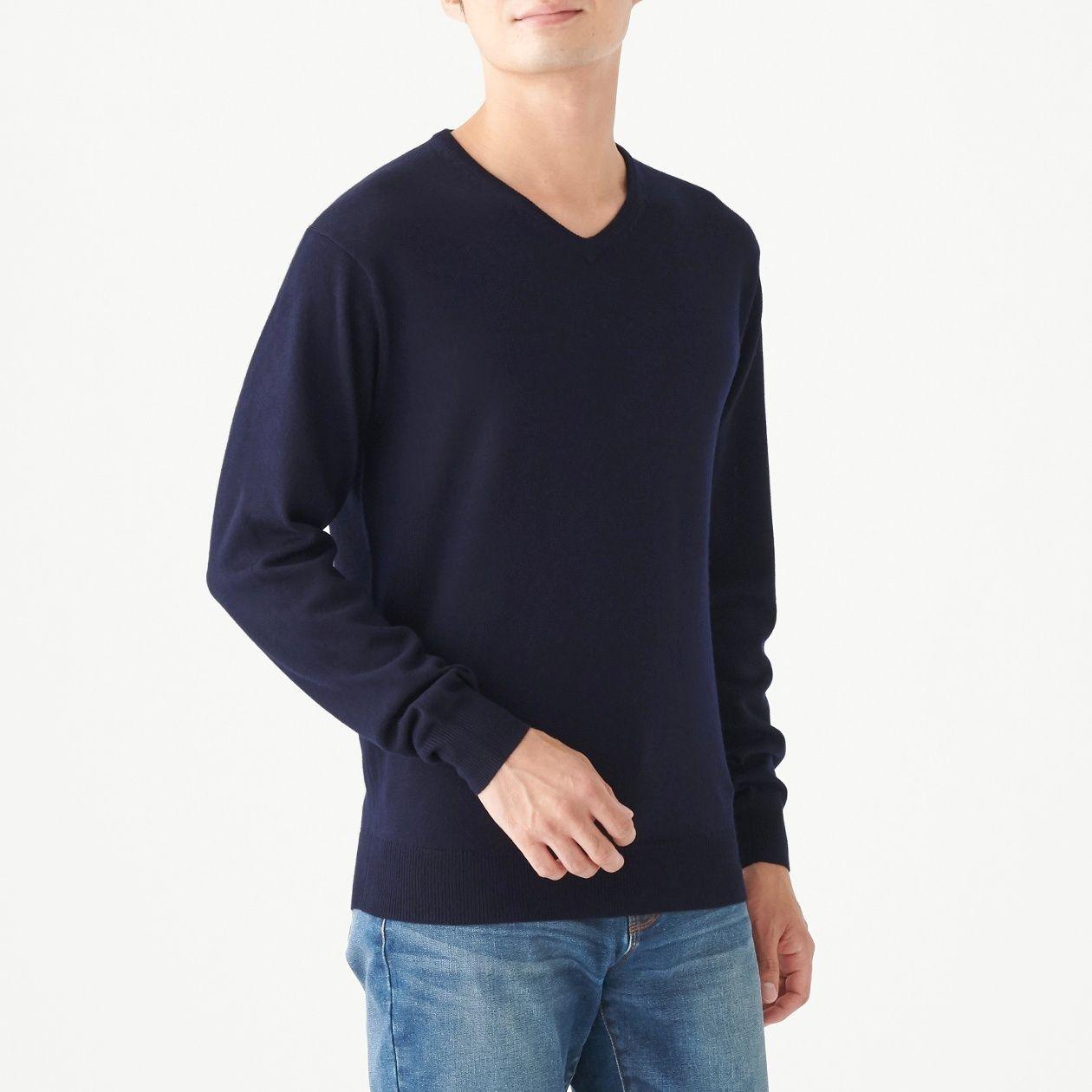メリノウール 洗えるハイゲージVネックセーター