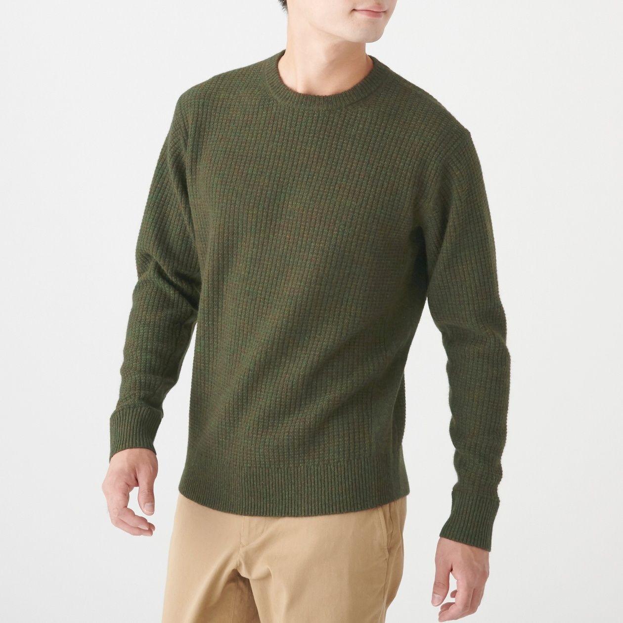 ヤク入りウールワッフル編みセーター