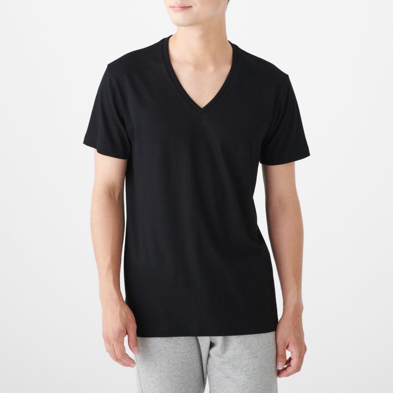 脇に縫い目がない 天竺編みVネック半袖Tシャツ・2枚組