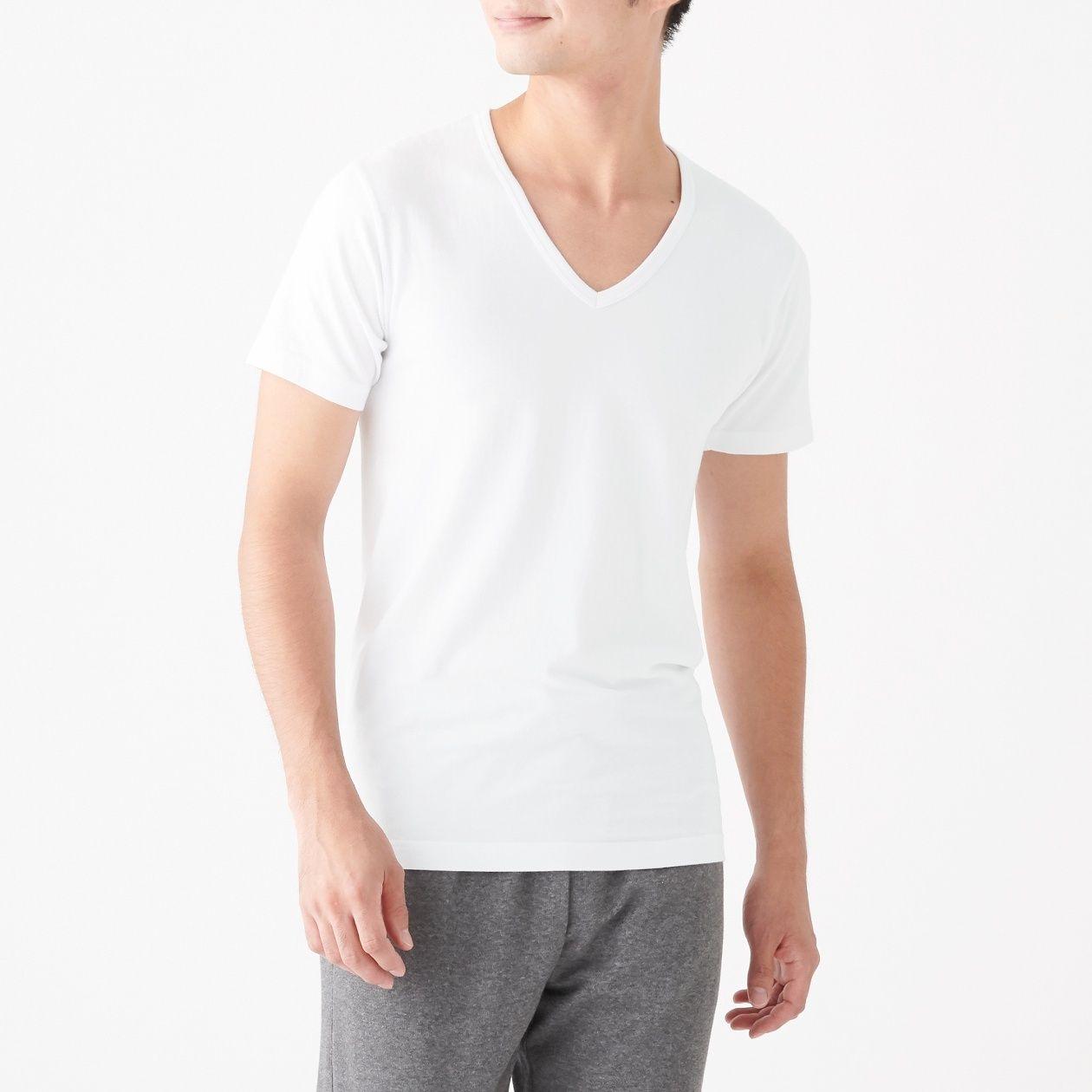 綿であったかVネック半袖Tシャツ