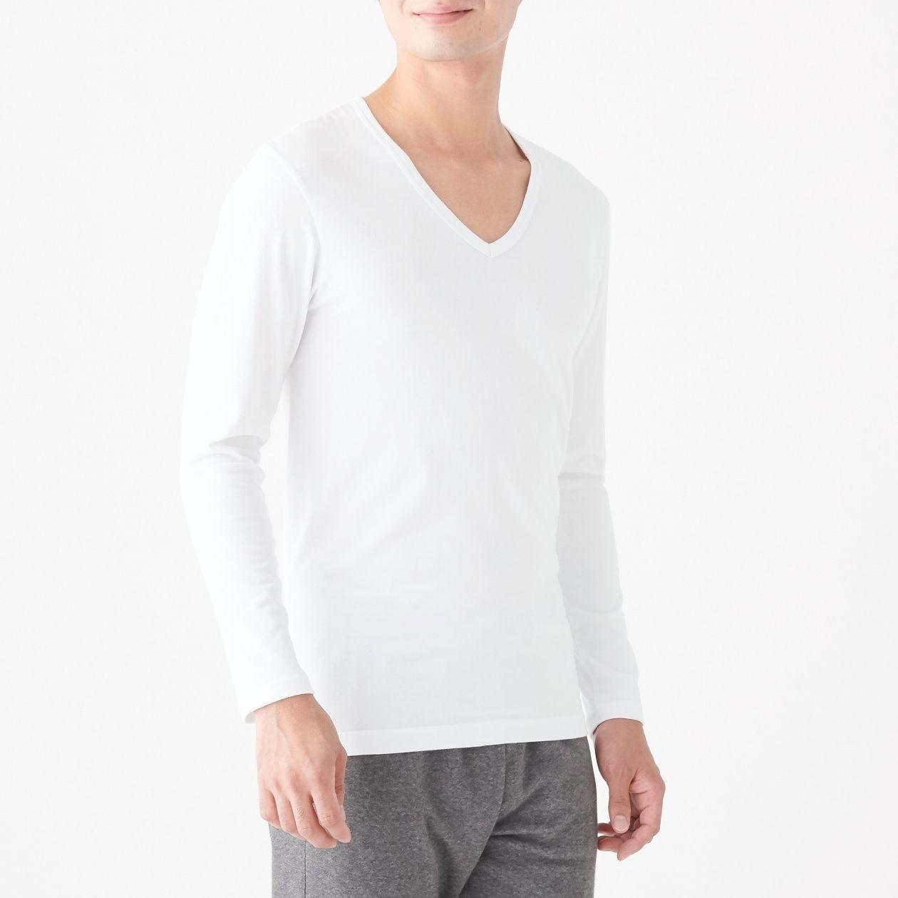 綿であったかVネック長袖Tシャツ