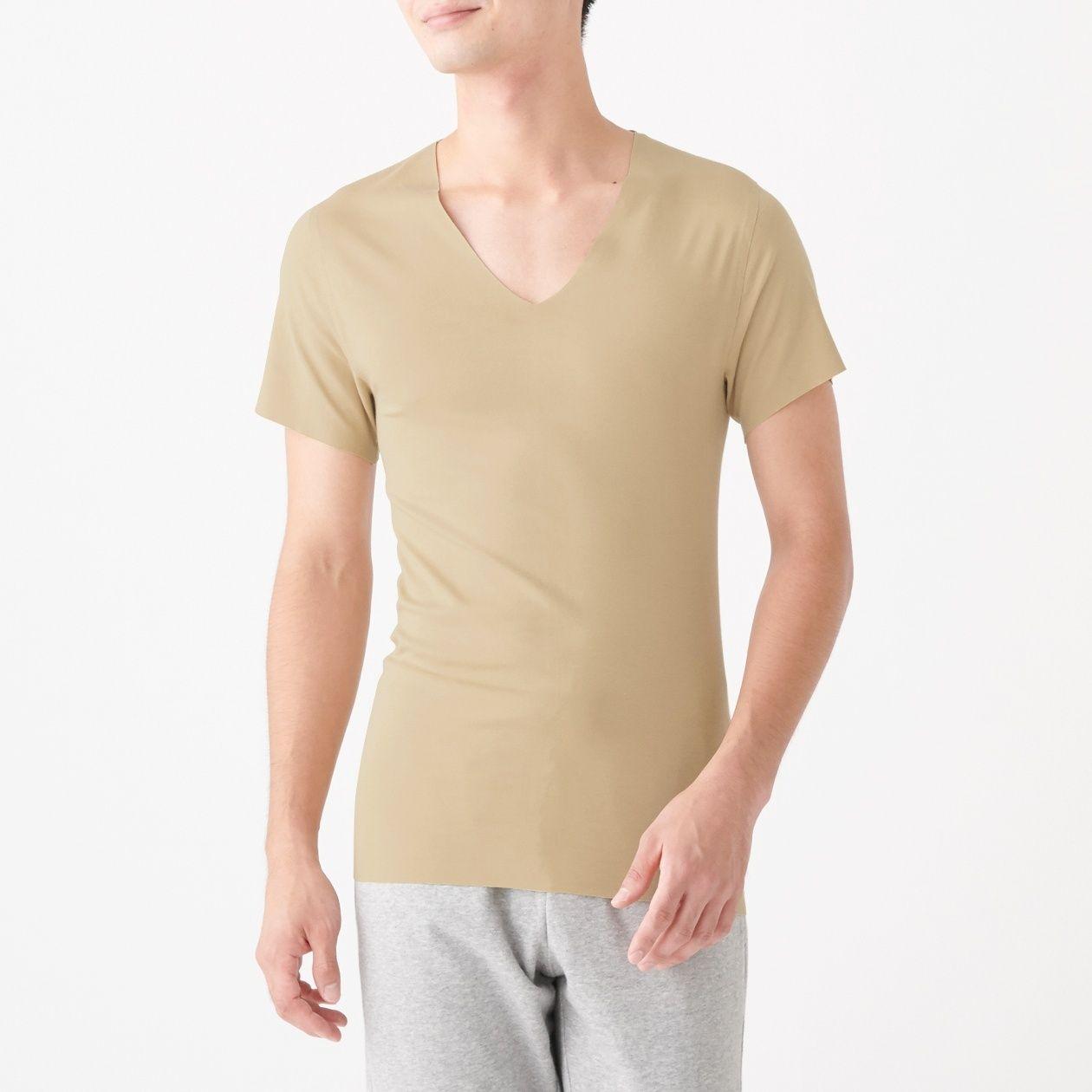 どこにも縫い目がないVネック半袖Tシャツ