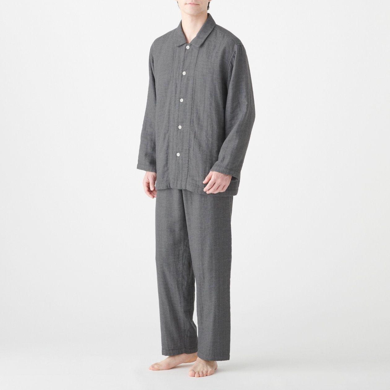 脇に縫い目のない 四重ガーゼパジャマ