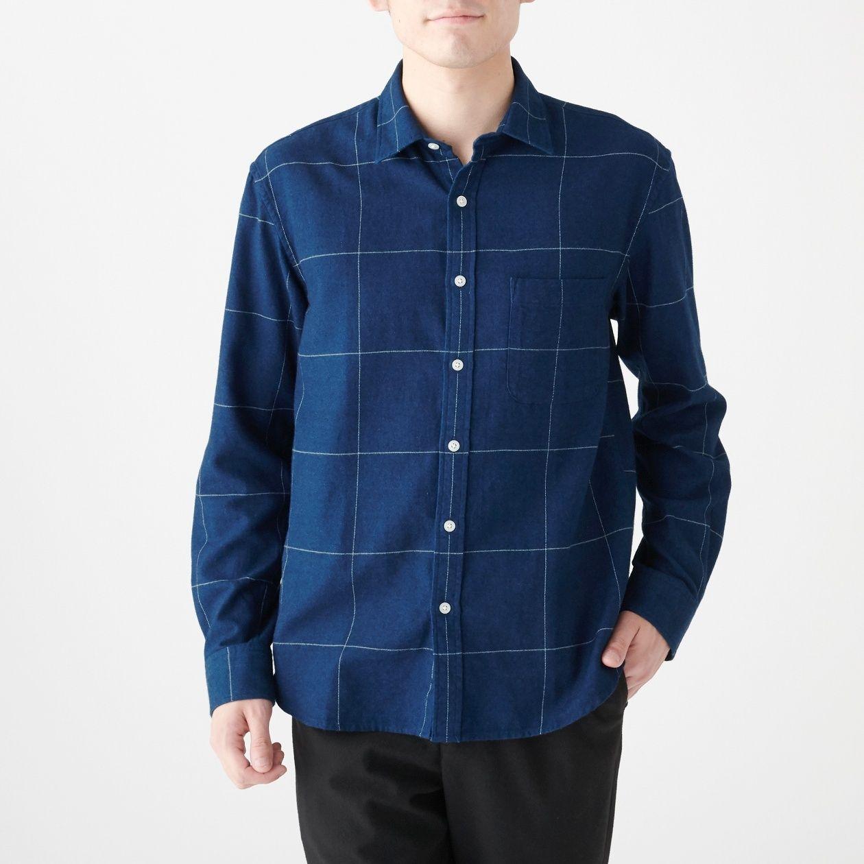 インド綿フランネルインディゴチェックシャツ