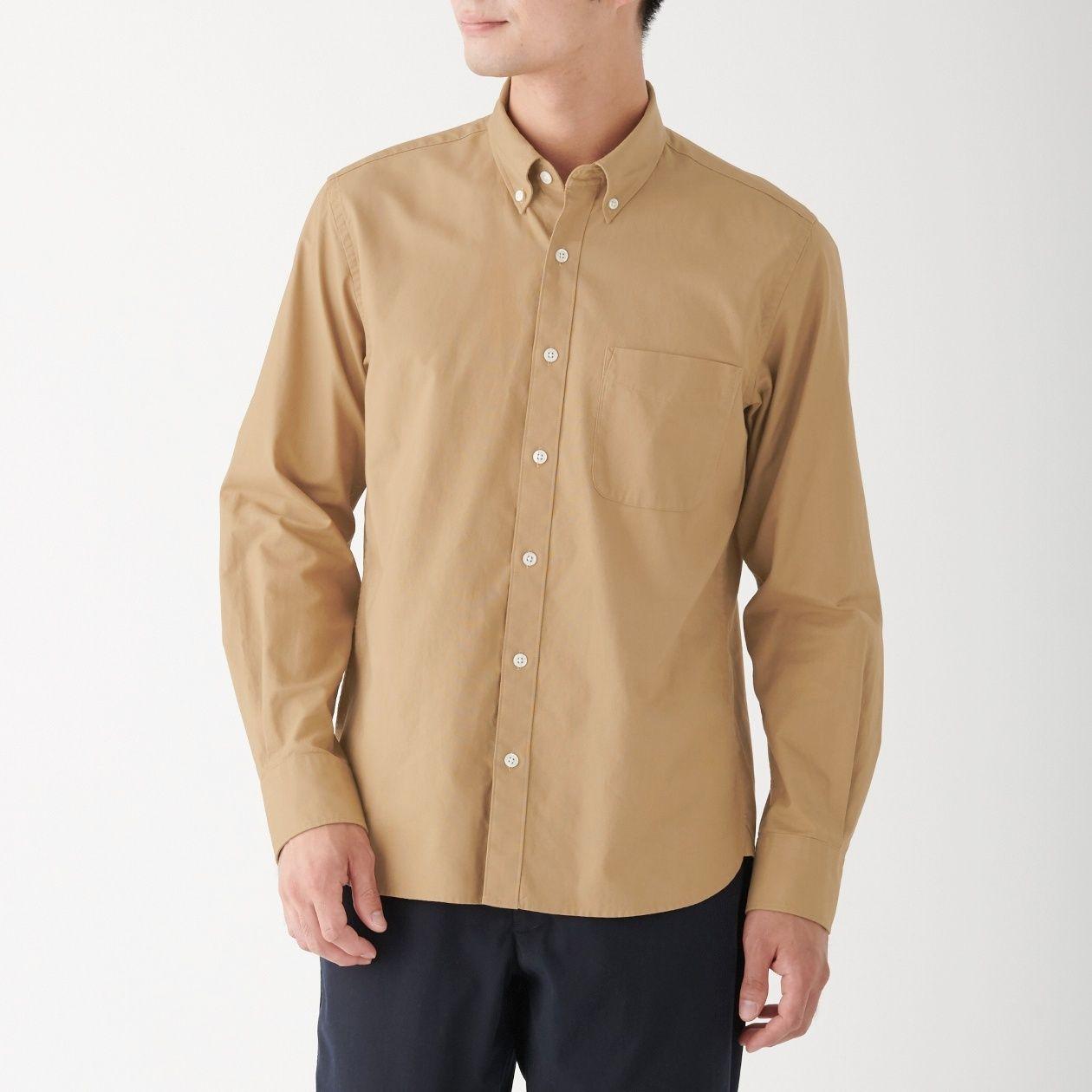 新疆綿生地染めオックスボタンダウンシャツ 紳士S・ベージュ