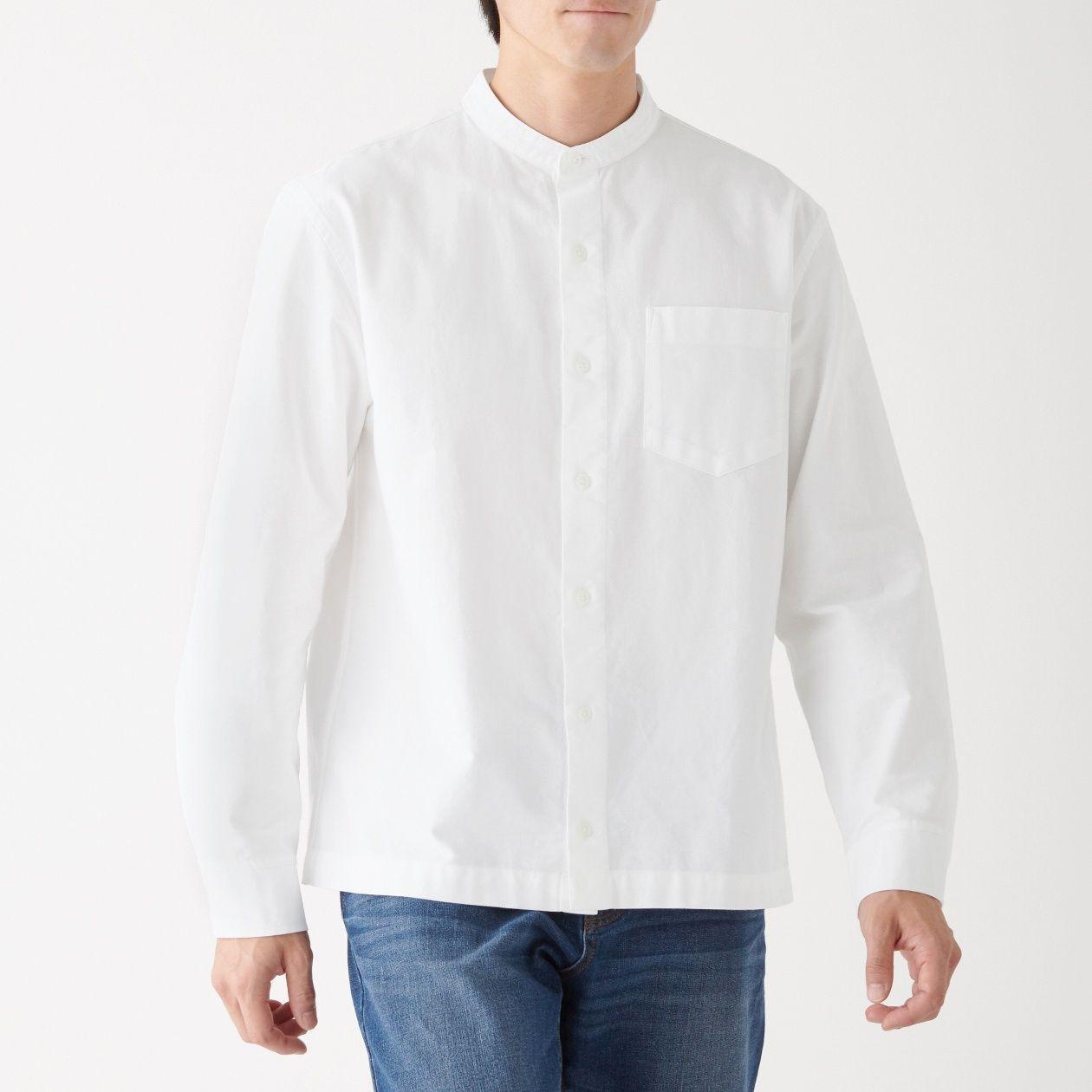 新疆綿オックススタンドカラーシャツ