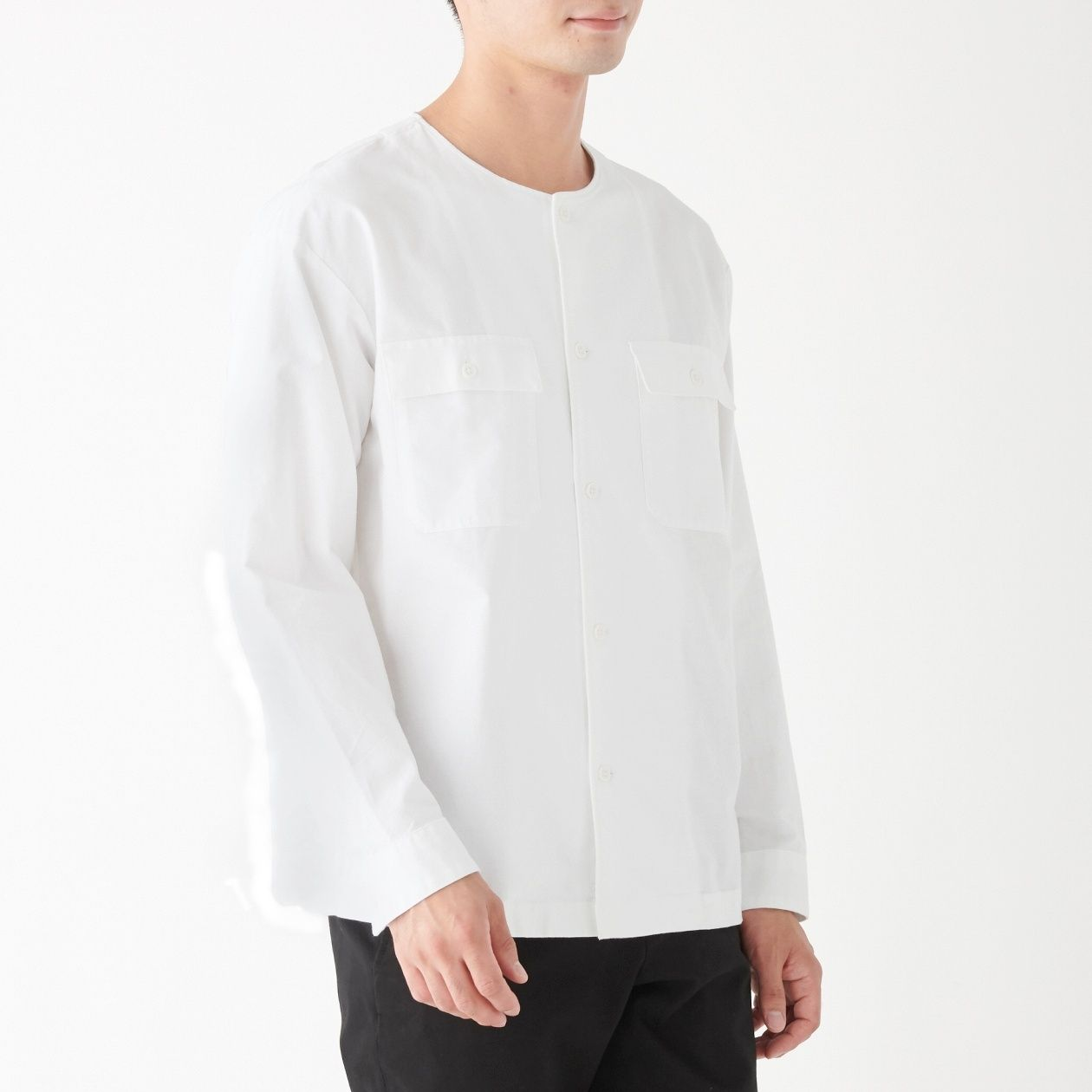 新疆綿オックスノーカラーシャツ