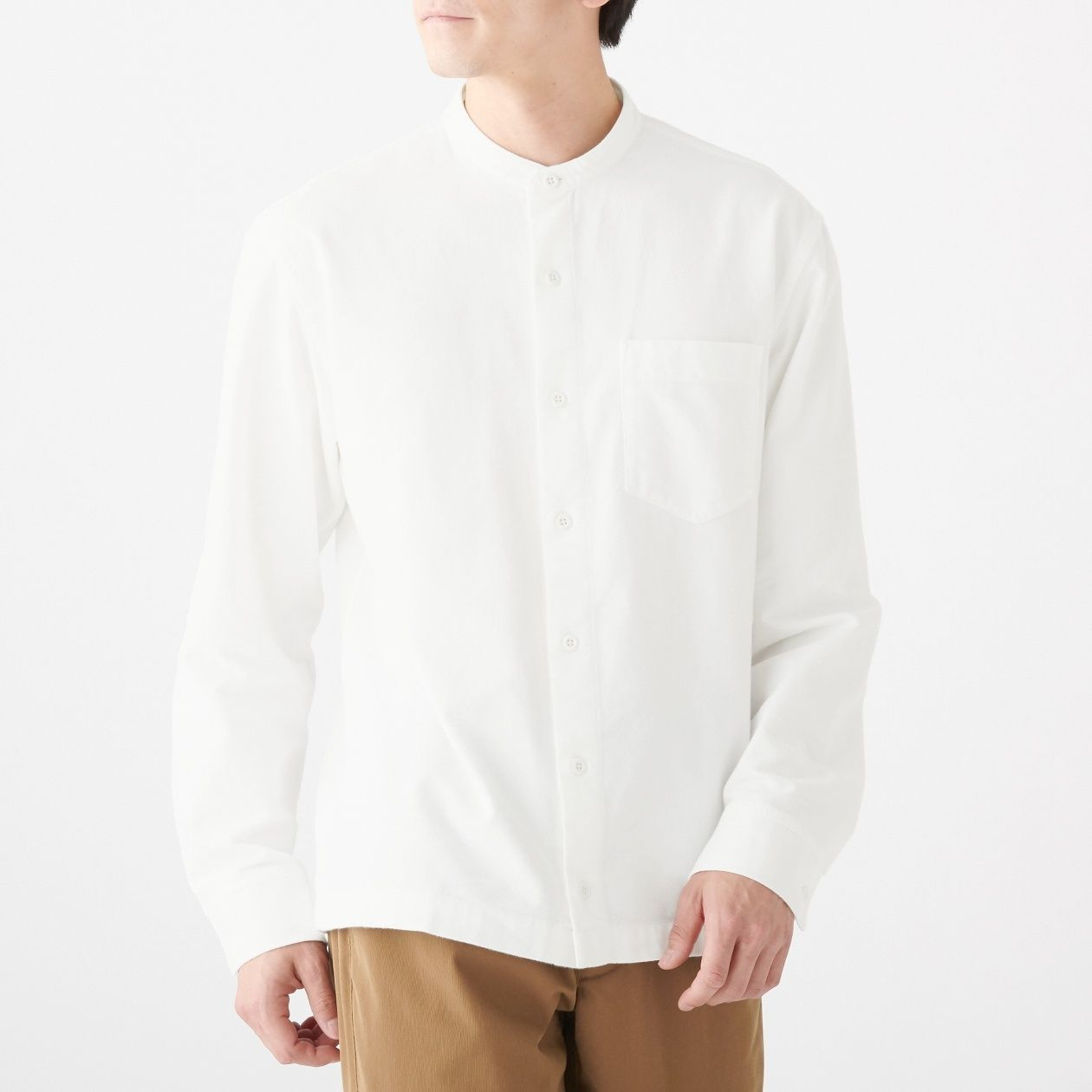 新疆綿フランネルスタンドカラーシャツ