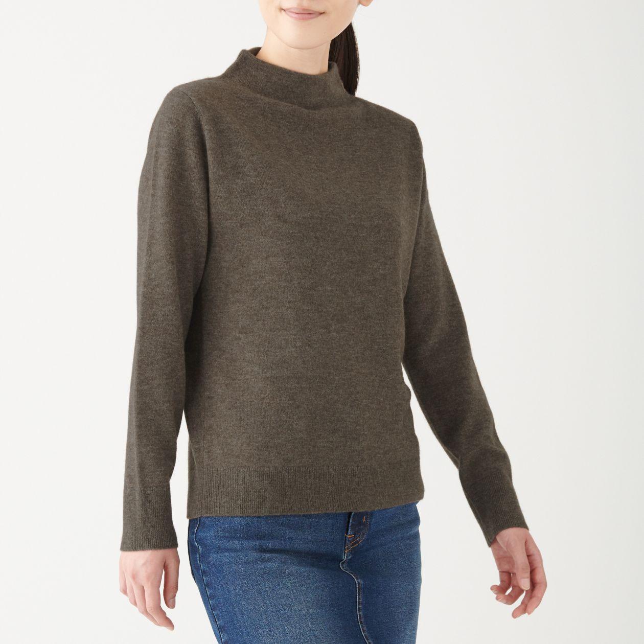 ヤク混ウールモックネックセーター