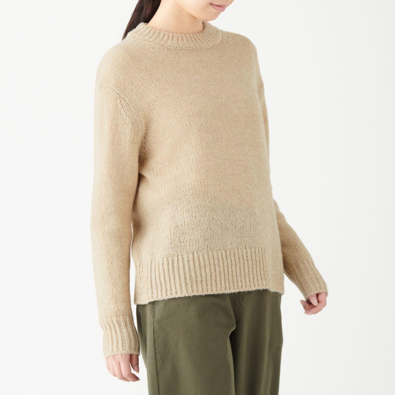 ヤク入りウールクルーネックセーター