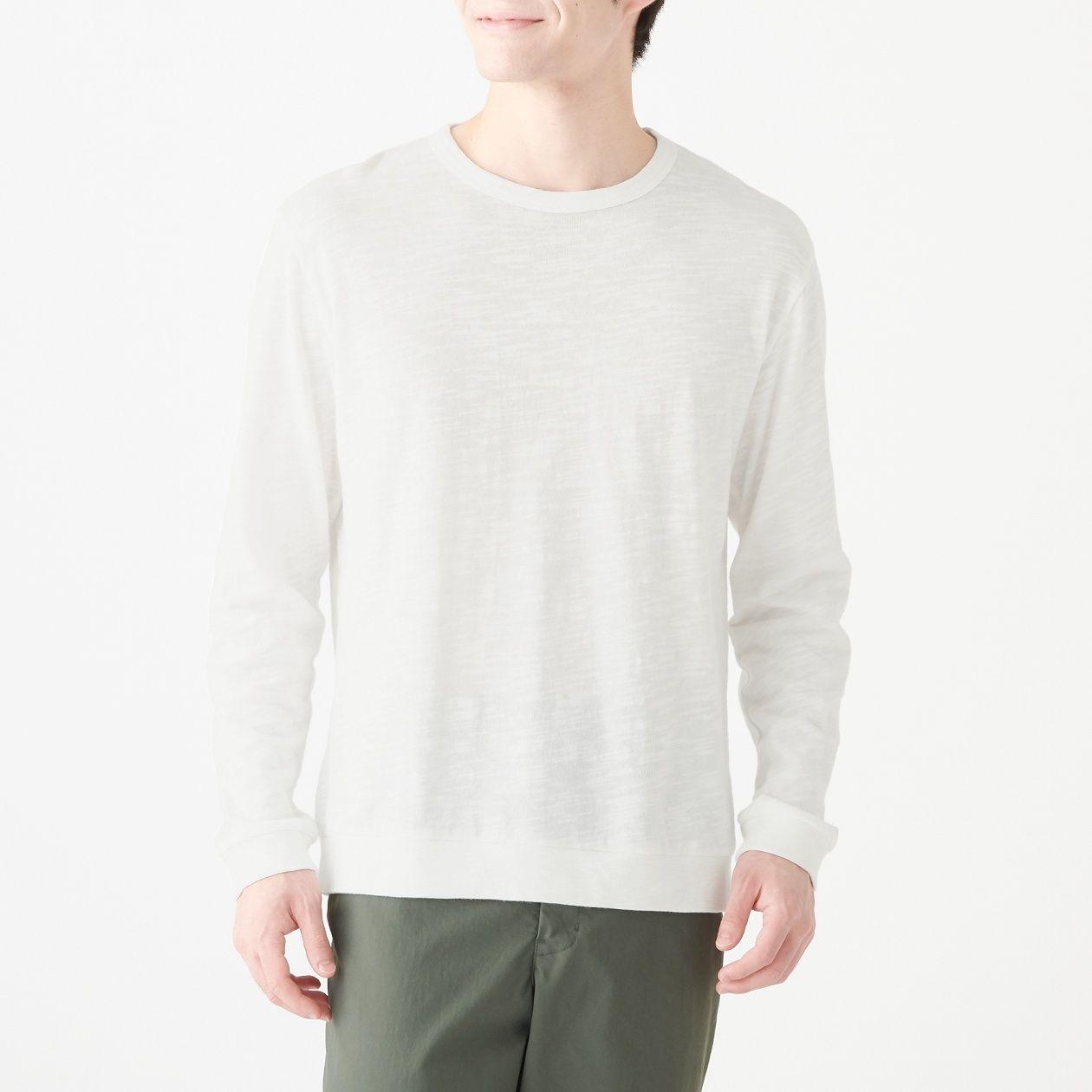 インド綿ムラ糸長袖Tシャツ