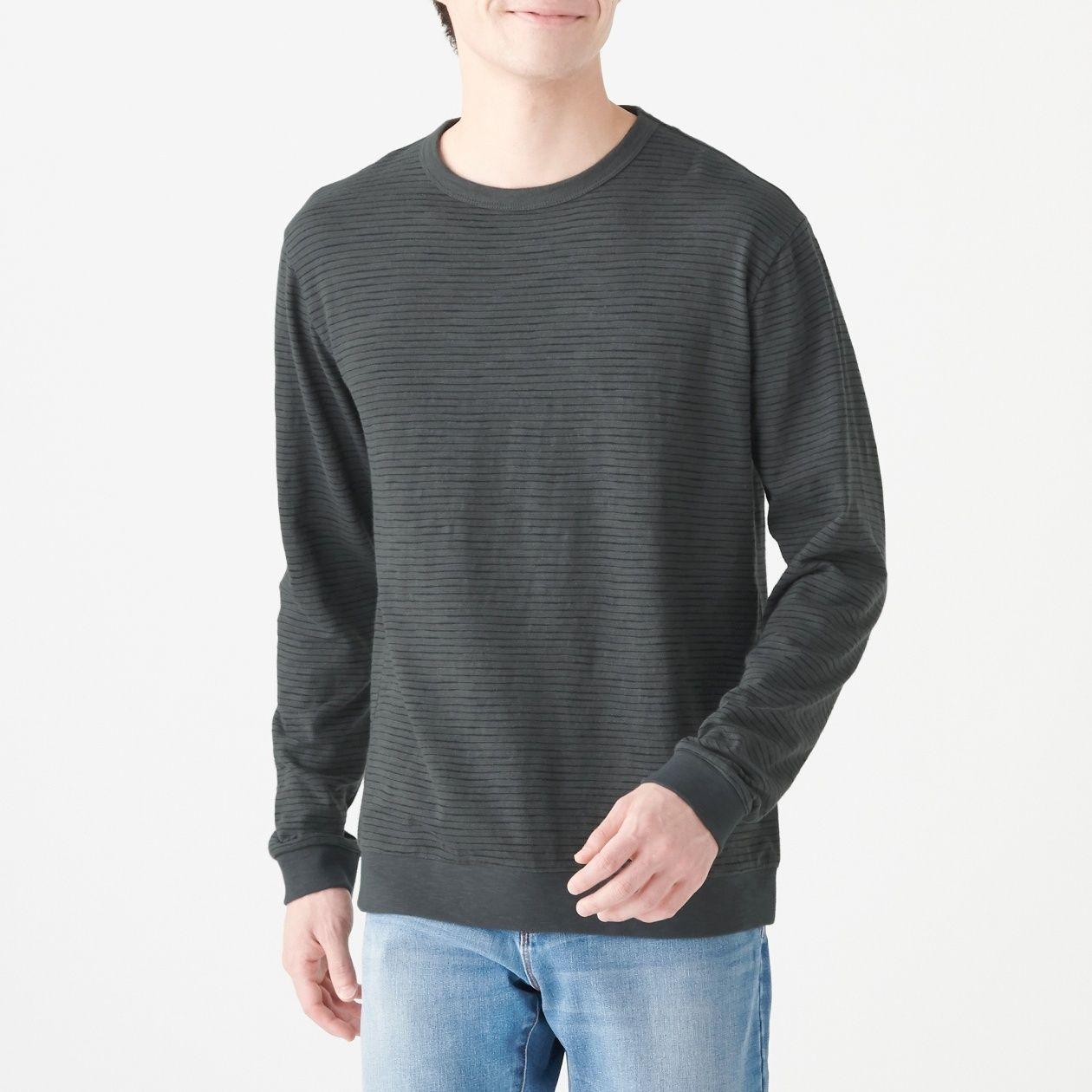 インド綿ムラ糸長袖Tシャツ(ボーダー)