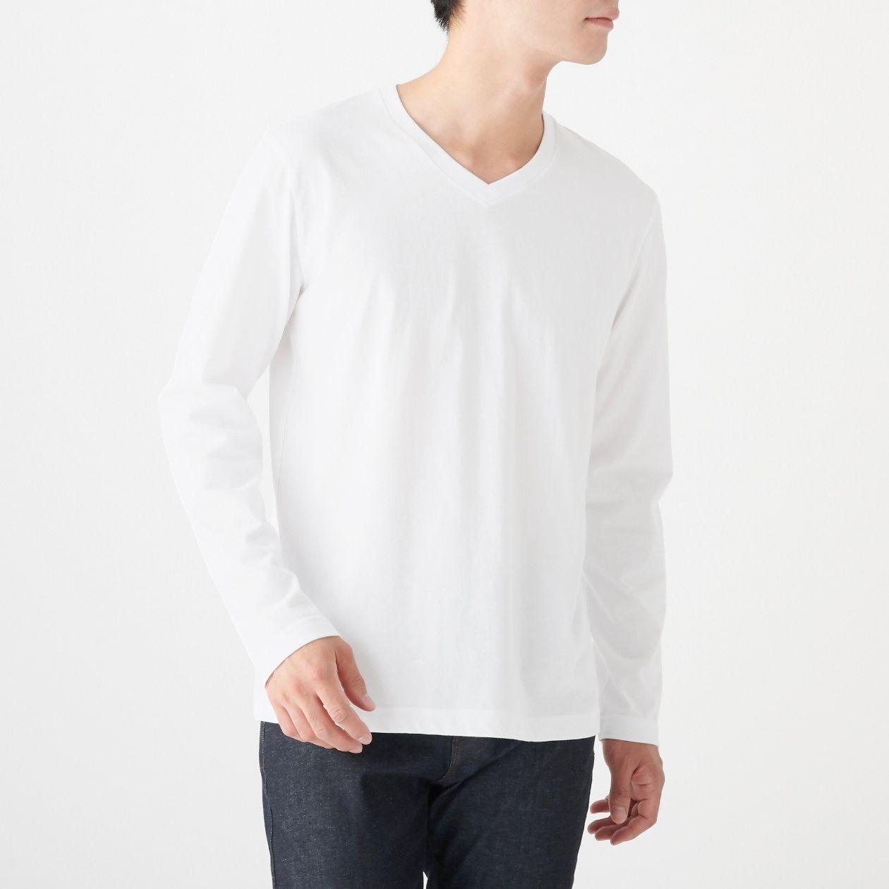 インド綿 天竺編みVネック長袖Tシャツ