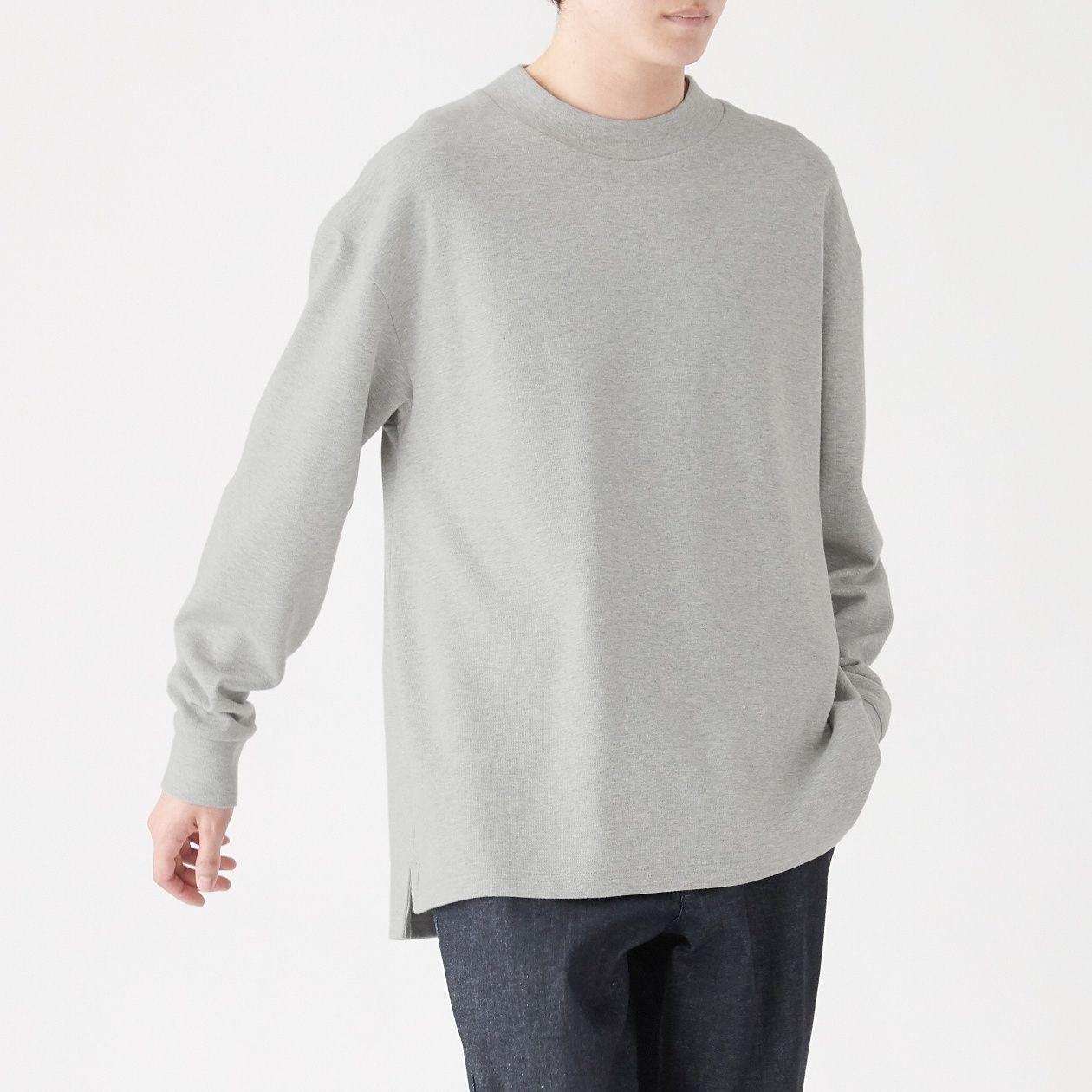 インド綿 二重編みハイネック長袖Tシャツ