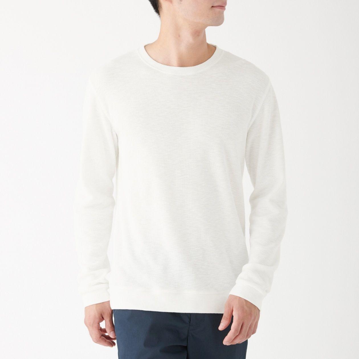 ムラ糸 ワッフル編み長袖Tシャツ