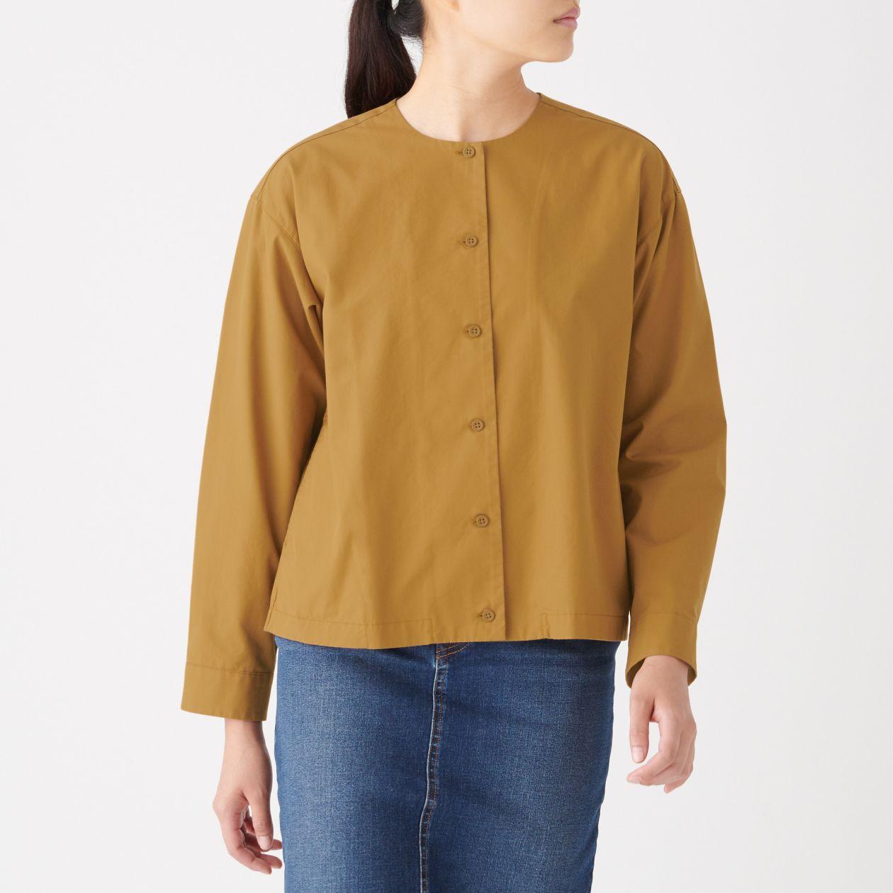 新疆綿洗いざらしピンオックスクルーネックシャツ
