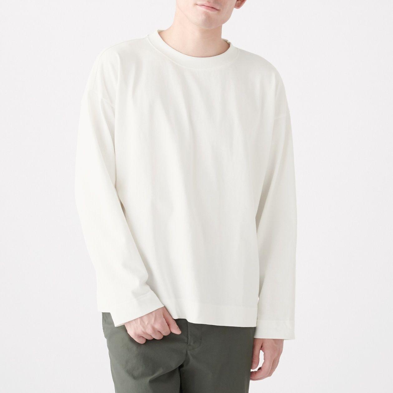インド綿ドロップショルダー長袖Tシャツ