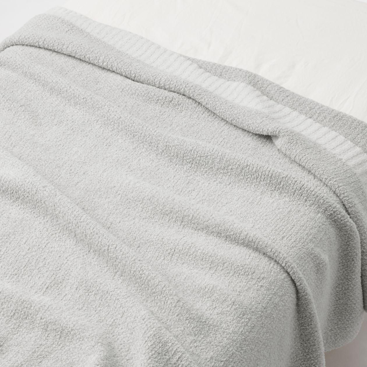 モール糸使いニット毛布・S/グレーの写真