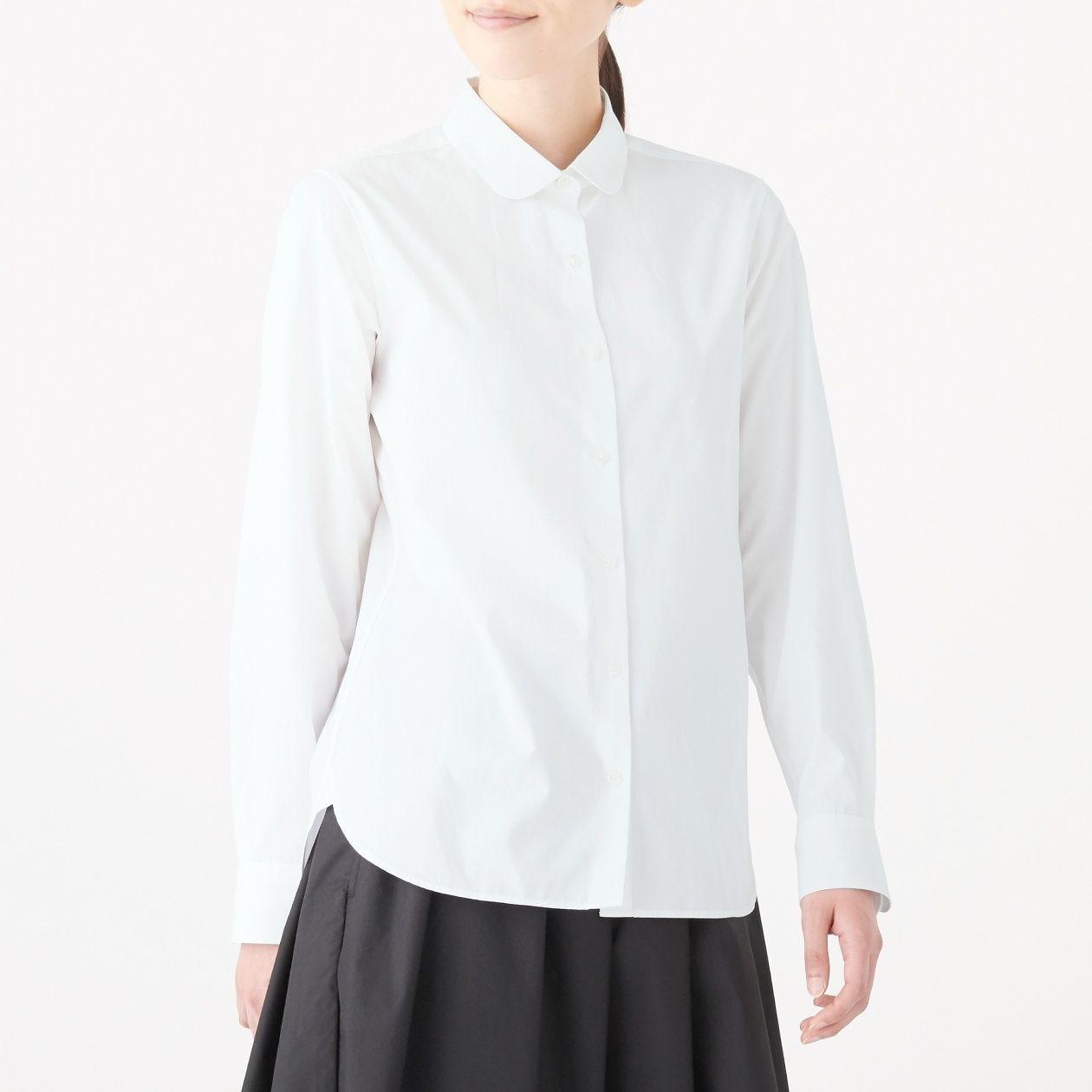 超長綿ブロード丸襟シャツ