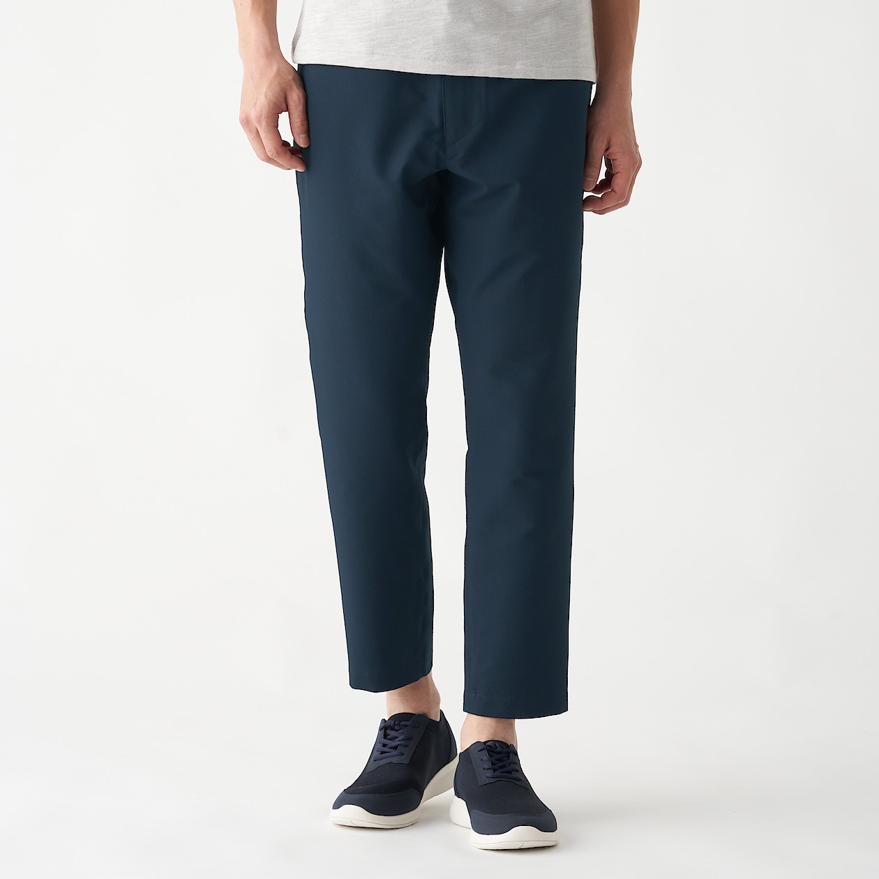 Men's Stretch Sucker Ankle Length Trousers