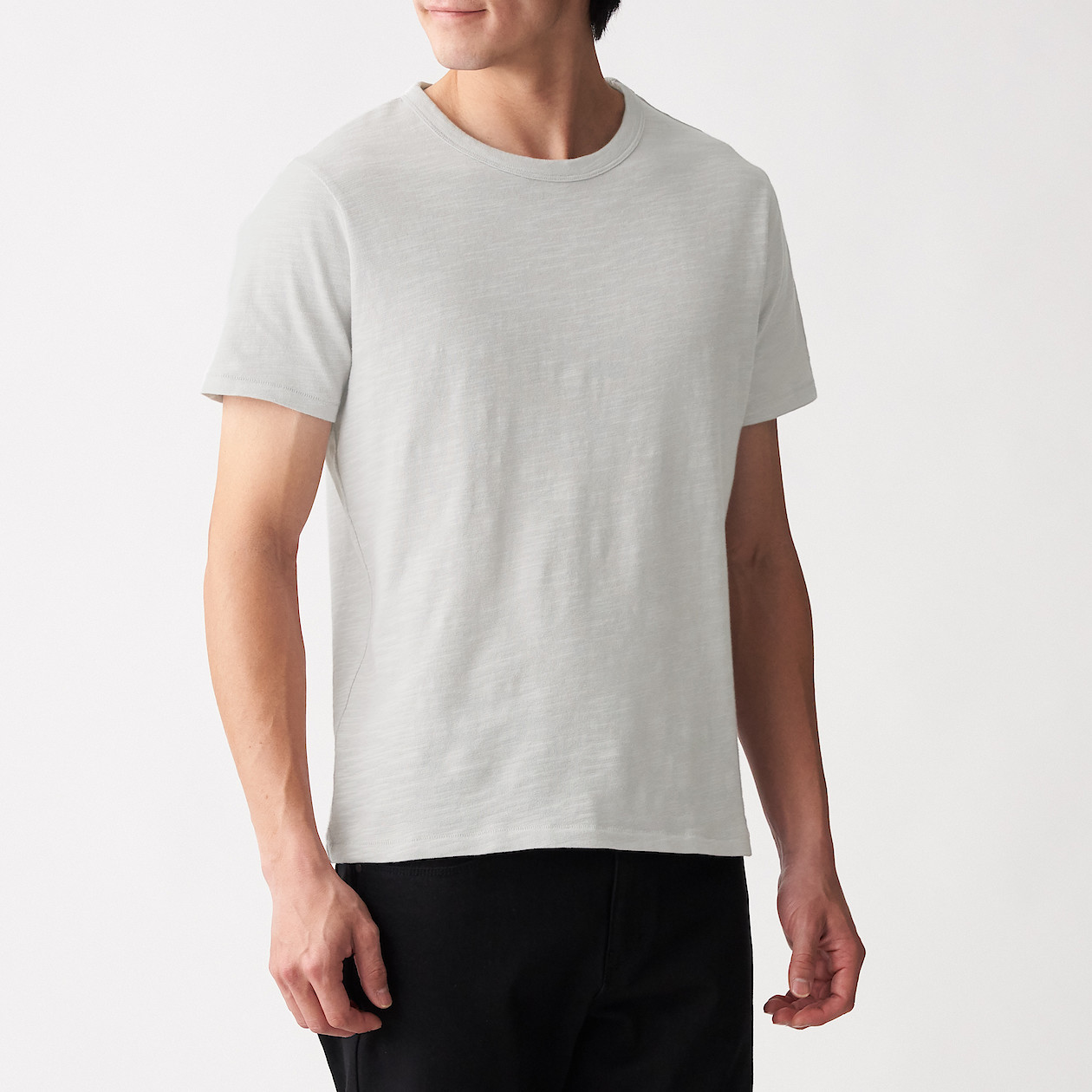 Men's Organic Cotton Uneven Yarn Crew Neck Short Sleeves T-Shirt