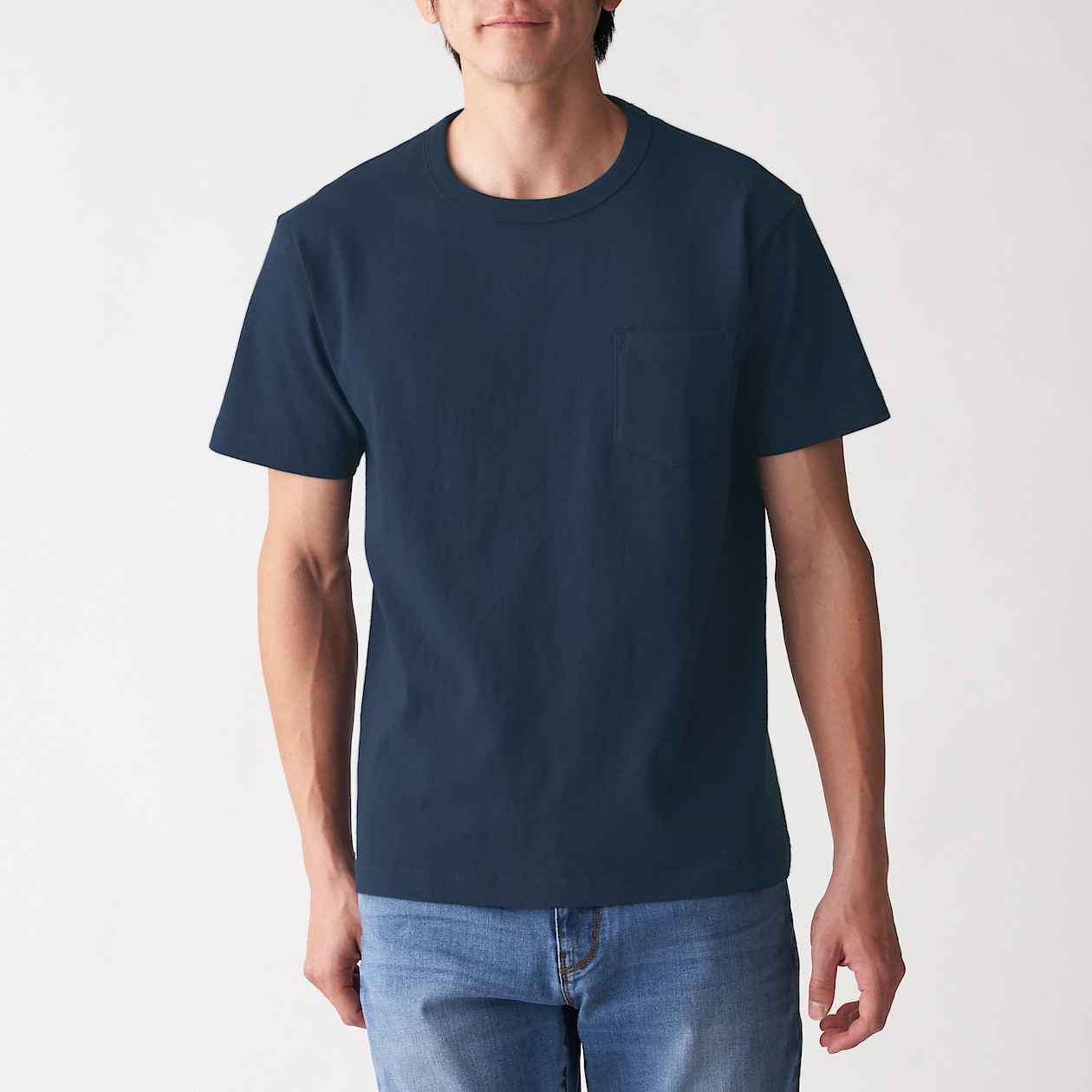 Men's Coarse Organic Cotton Short Sleeves T-Shirt With Pocket