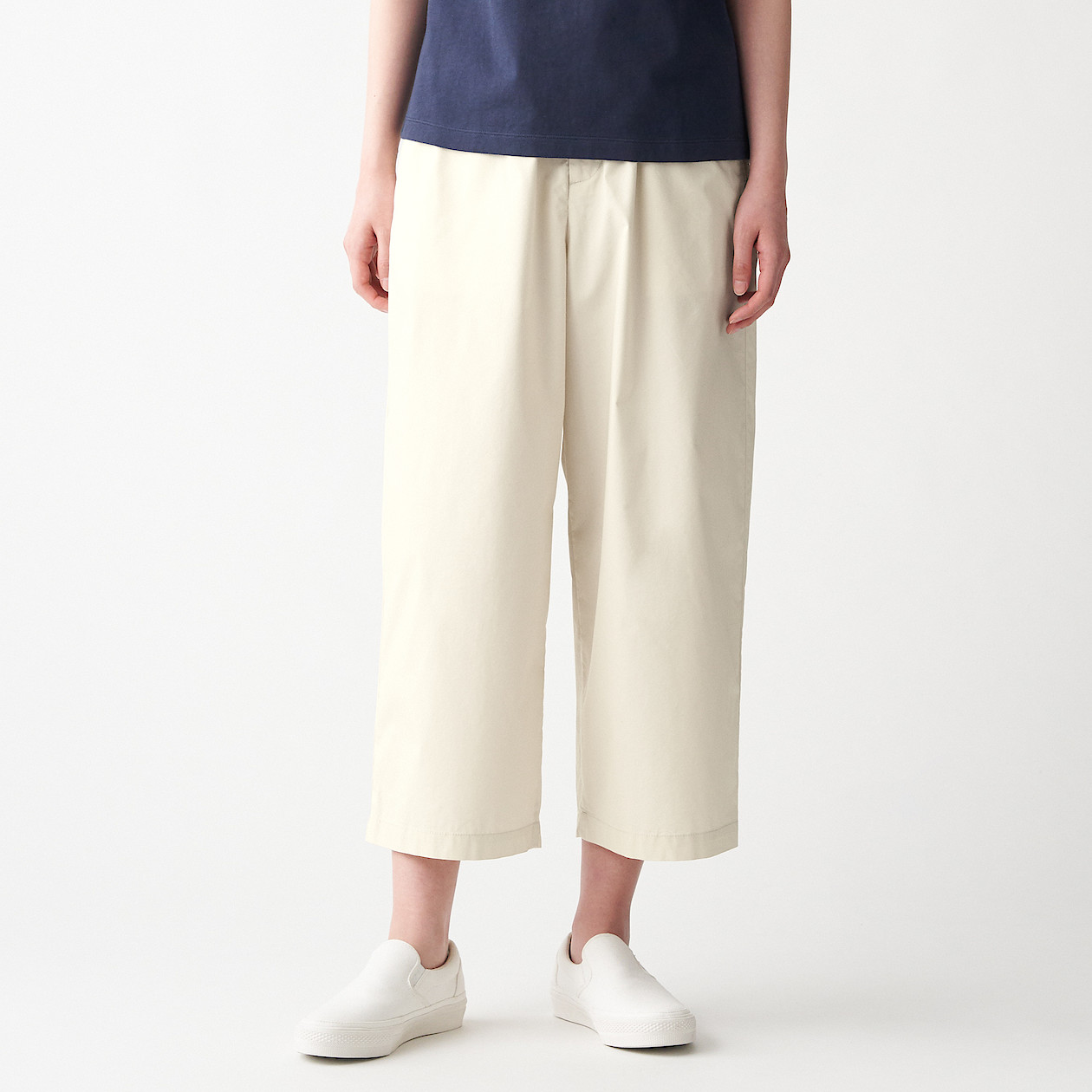 Ladies' Stretch High Density Weave Cropped Wide Pants