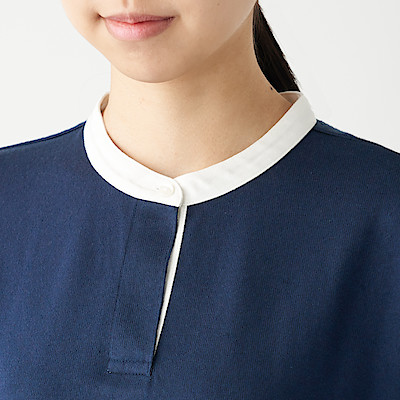 WIDE COUNT JERSEY STITCH STAND COLLAR DRESS (34 SLEEVE) | MUJI