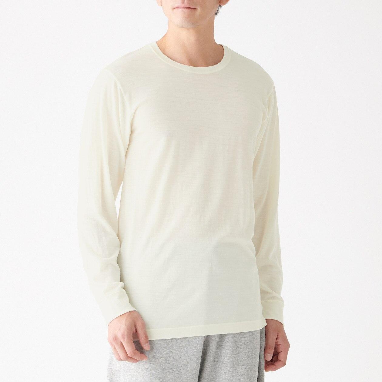 脇に縫い目のない ウールクルーネック長袖Tシャツ