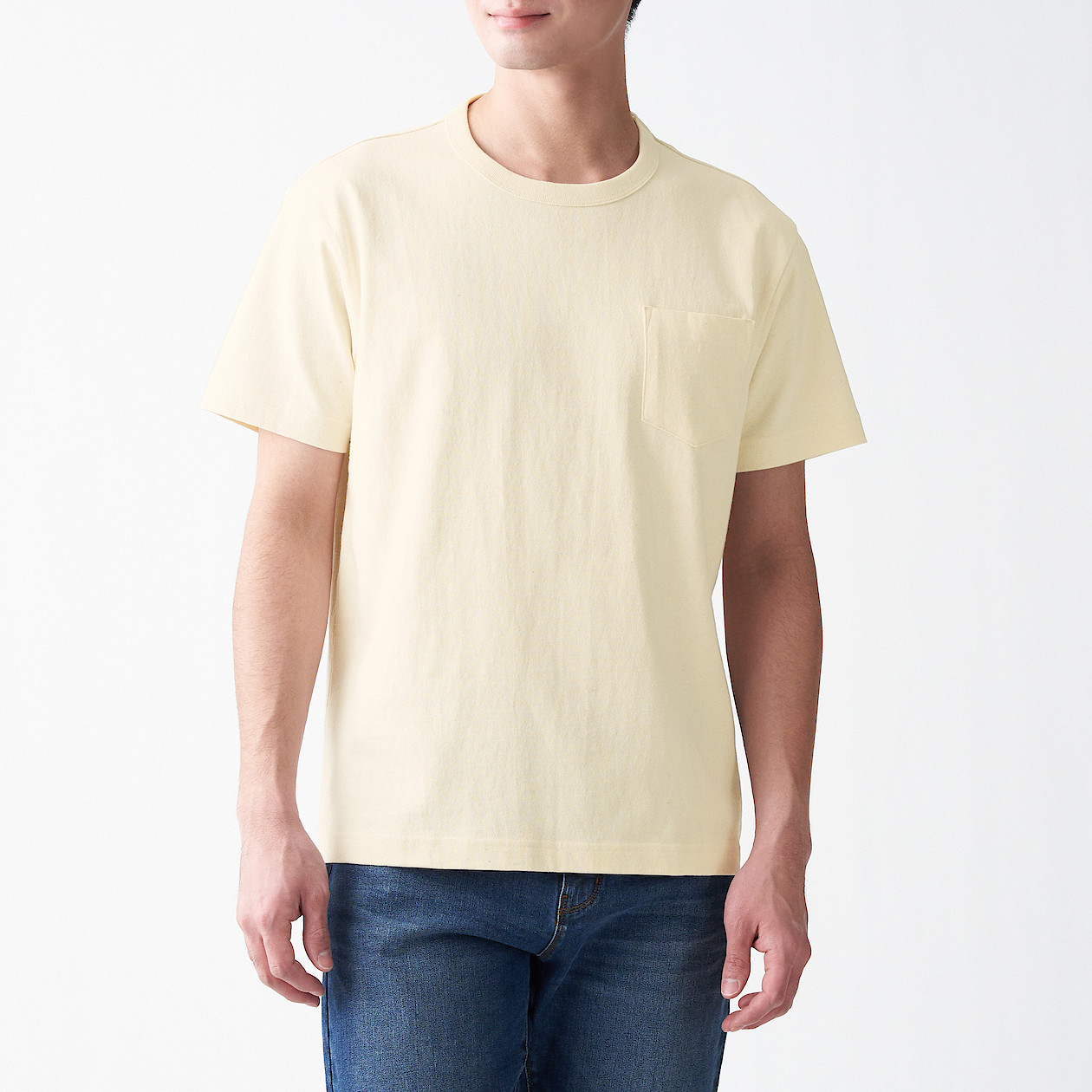 Men's Coarse Organic Cotton Short Sleeve T-Shirt With Pocket